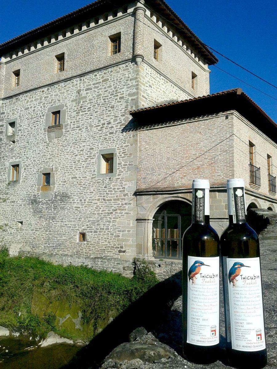 Torre de Murga y Botellas de Txakoli Txikubin