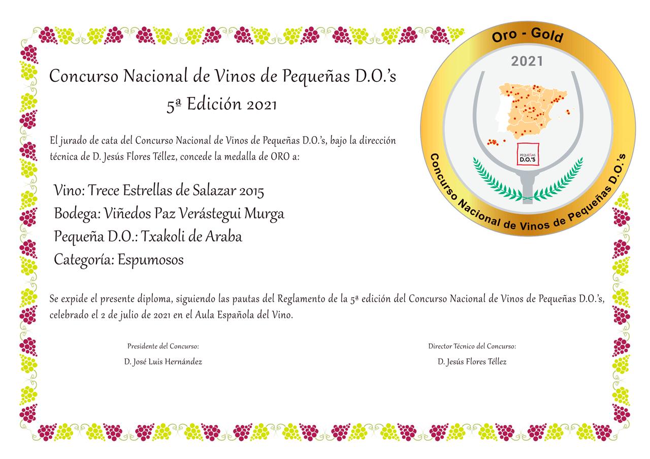 Medalla-de-Oro-Concurso-Nacional-de-Vinos-de-Pequeñas-Denominaciones-13-Estrellas